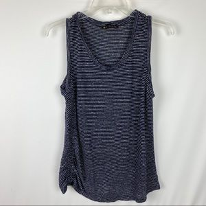Athleta Tank 100% Linen Navy Striped Ruched Side